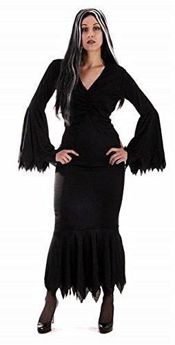 Costume da donna stile morticia vampiro sexy colore nero - taglia unica ma generalmente per taglie 42-48