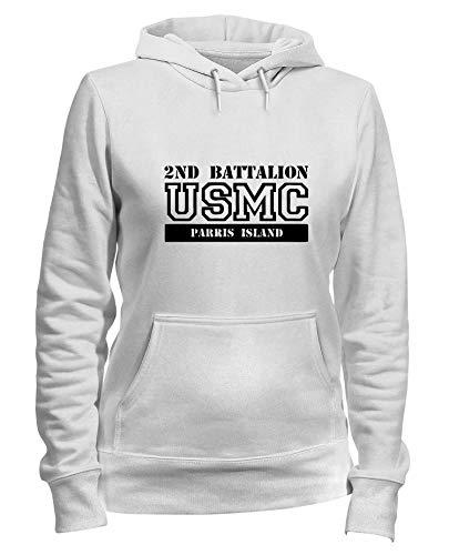 Usmc Parris Island (Speed Shirt Kapuzen-Sweatshirt Frauen Weiss OLDENG00285 USMC 2ND Battalion Parris Island)