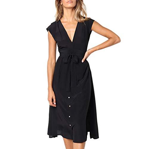 Linkay Kleid Damen KurzStripe-Taste Rock SommerRückenfreie Abendparty Kleider Mode 2019 (Schwarz, Large)