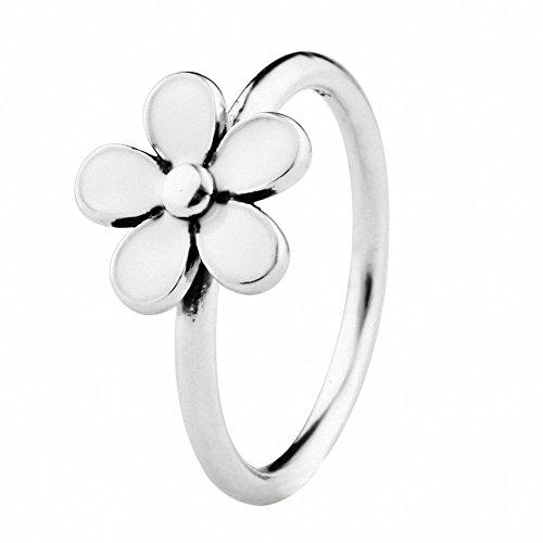 TAOTAOHAS oxidada antiguo esmalte sólido plata de ley 925/1000 anillo [ flor de cerezo, Talla 16 ]Top Ventas