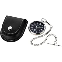 Radio Controlled Pocket Watch Chrome with Black Open Face