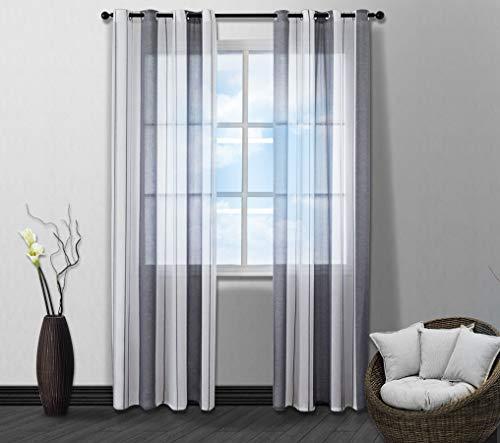 HETAIDA Voile Vorhang Transparente Gardine Ösen Schlaufenschal Ösenschals Transparent Streifen Fensterschal Wohnzimmer Schlafzimmer Vorhang, 2-teiliges Set(Grau und weiß, 245x140 cm)