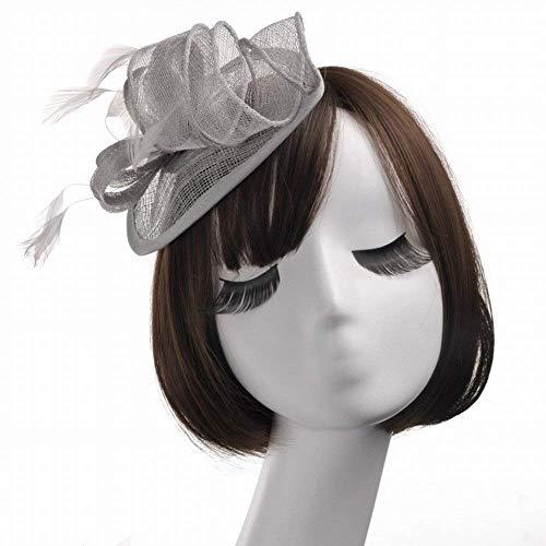 (Hut - Damen Herbst und Winter Kopfschmuck europäischen und amerikanischen Hanf Garn Kopfschmuck Braut kreative Hanf Feder Stirnband Hut Party Partei Ball Hut (Farbe : Silber, Größe : 17 * 12 * 8cm))