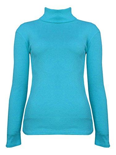 Janisramone femmes plaine côtes tortue de polo shirt extensible à manches longues pull top Turquoise