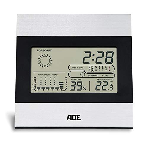 ADE Digitale Wetterstation WS 1815 (Anzeige von Temperatur, Luftfeuchtigkeit, Wettervorhersage, Uhrzeit, mit LCD-Display) schwarz