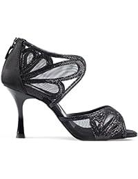 PortDance Mujeres Zapatos de Baile PD808 Pro Premium - Satin/Glitter Negro - 7 cm Flare