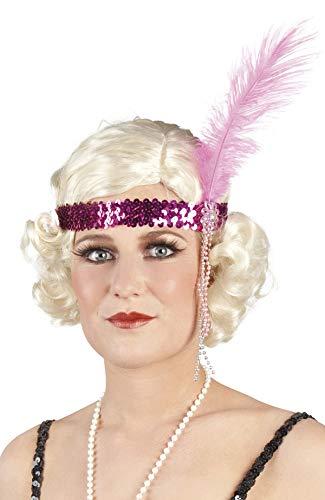 TH-MP 20er 30er Jahre Charleston Kopfband Flapper Kostüm Zubehör Stirnband (Pink)