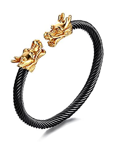 Vnox Mens Stainless Steel Opposite Dragon Head Wire Viking Cuff Bangle Bracelet,2 Color Choose (Black+Gold)