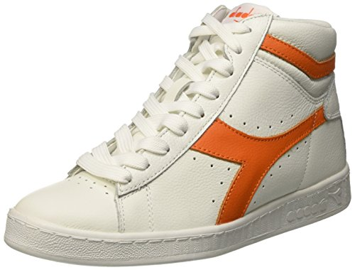 Diadora Game L High Waxed Scarpe Low-Top, Unisex adulto Multicolore (C5937 Bianco/Arancio Tropicale)