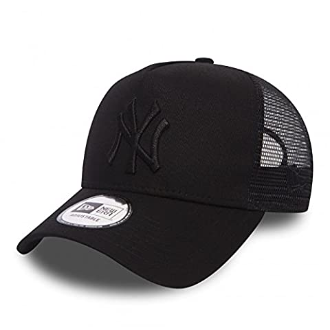 New Era League Essential Trucker New York Yankees Black/Black Casquette 9FORTY Aframe Homme, Noir, FR : Taille Unique (Taille Fabricant : OSFA)