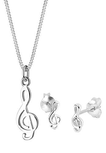 Elli Damen Halskette und Ohrringe Notenschlüssel 925 Sterling Silber 0906611511 - 45cm Länge