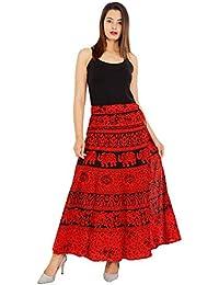 Mayuri Cotton Women's Cotton Wrap Around Skirt(Red, Free Size)