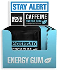Blockhead Energy Gum Peppermint 120 Pieces | Caffeine Chewing Gum with Vitamins B1, B6 & B12 and Ginseng |