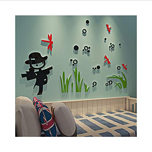 xsongue Scarecrow Crystal Acrylic 3D Wall Stickers for Kids Room Children's Room Cartoon Creative Decorative Wall Stickers -