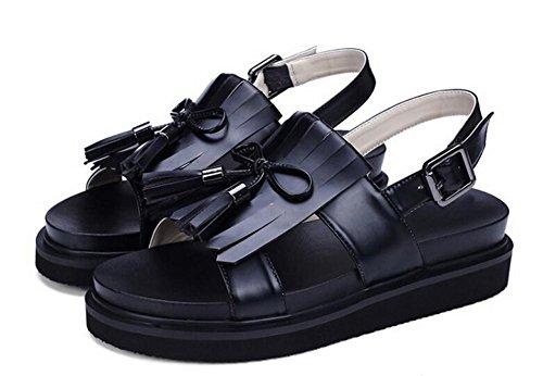 Beauqueen Open-Toes Pumps Slingbacks Frauen Flache Quasten Sommer Casual Arbeit Hochzeit Schuhe Europa Größe 34-39 , black , 39 Indoor-fußball-schuhe Größe 4 Mädchen