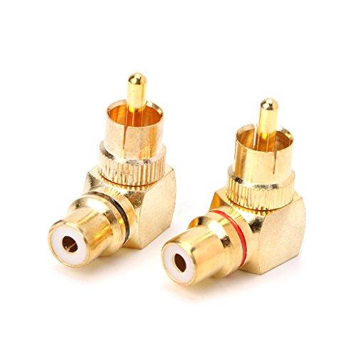 JOYKK 2X Messing RCA rechtwinklig Stecker auf Buchse vergoldete Stecker 90-Grad-Adapter - Golden