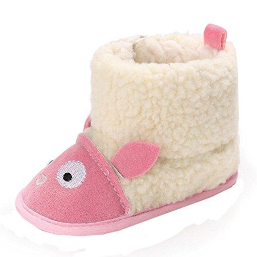 manadlian Chaussons Bébé Filles Bottes Chaud Souple Mignon Coton, Doux Bouton Démarrage Enfant Prémarche Chaussures