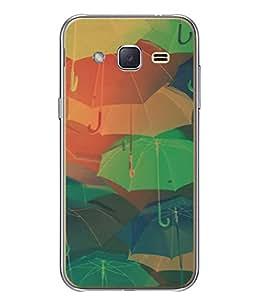 PrintVisa Designer Back Case Cover for Samsung Galaxy J2 J200G (2015) :: Samsung Galaxy J2 Duos (2015) :: Samsung Galaxy J2 J200F J200Y J200H J200Gu (Colourful Umbrellas Cute Design)