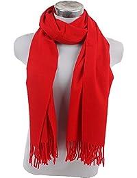 Unifarbe Schal Stola 70 x 185CM Herbst Winter soft klassische mit Quasten in fröhlichen Uni-Farben