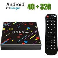 H96 Max Android 7.1 TV Box [4GB/32GB/4K] RK3328 Quad Core 64Bits HDMI 2.0 H.265 Dual WiFi Bluetooth 4.0 Box Smart TV Box