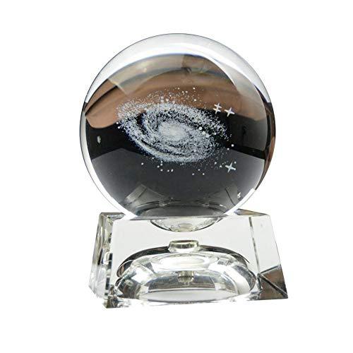 Jannyshop Miniaturen Milchstraße Galaxy Kristallkugel mit Ständer Desktop Dekoration Zubehör Geschenke 100MM+ leichte Basis