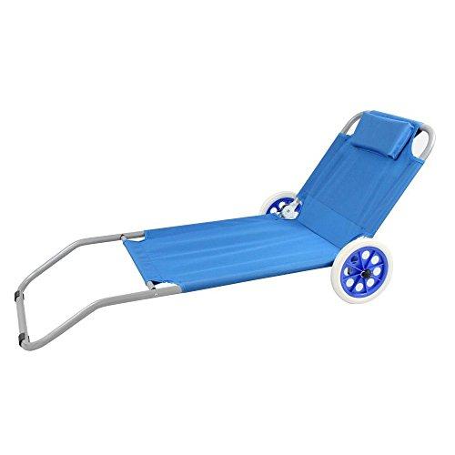 Spiaggina carrello sdraio mare steel oxford blu per campeggio spiaggia piscina giardino
