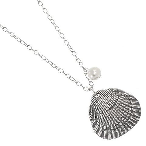 Danon Schmuck: 88cm lang Danon Halskette mit einem wunderbaren frischen Wasser Perle und Scallop Sea Shell inspiriert Anhänger