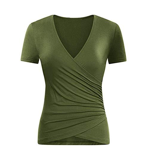 TOPSELD T Shirt Damen, Frauen Mit V-Ausschnitt BeiläUfige Kurze HüLsen Kreuz Falteinschlag Vorne Drape ()