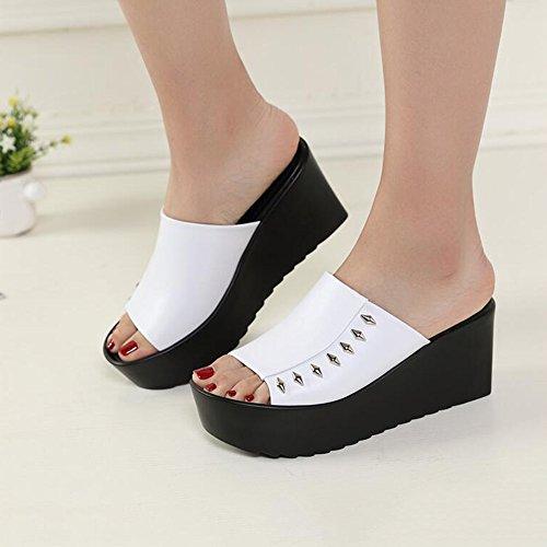 Estate Sandali 8.5 cm Pattini super superiori femminili d'estate Sandali di modo Sandali di modo Sandali di spessore superiori (bianco / nero) Colore / formato facoltativo Bianca