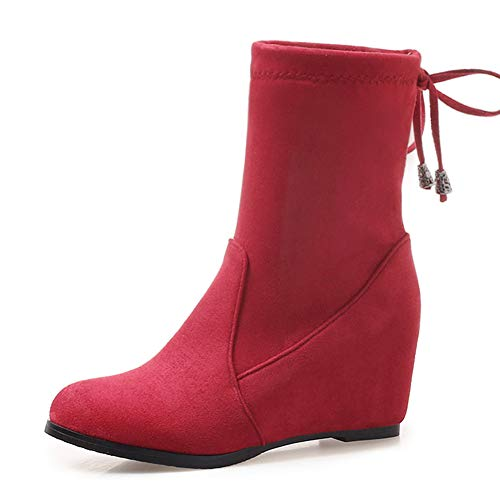 HOESCZS New Plus Größen 33-43 Heißer Höhe Zunehmende Winter Frauen Schuhe Frau Stiefel Slip On Mid Kalb Stiefel Frau Schuhe,rot,42 -