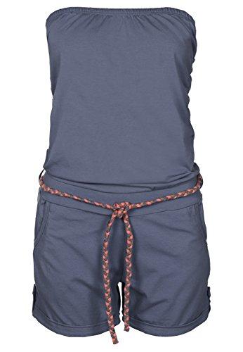 Bandeau One Piece Suit (Stitch & Soul Damen Bandeau Jumpsuit | Kurzer Overall | Sexy Einteiler aus bequemen Jersey Material middle-blue XS)
