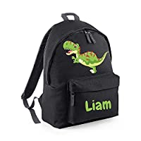 Personalised Backpack, Monster or Dinosaur Design and Any Custom Name, Boys School Bag, Rucksack, Back to School - Free Postage