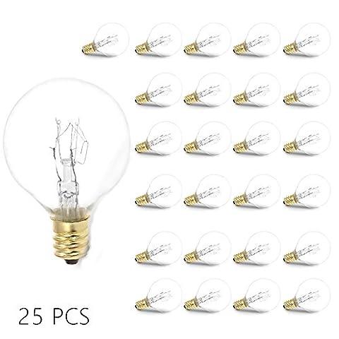25 Pack Clear Globe Glühbirnen (E12 7W), Ersatzbirnen für G40 Globe String Lichter, Mini Golf Ball Glühlampen, Warmweiß, Netz 220V-240V