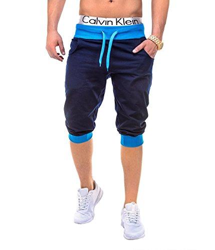 BetterStylz PumpUpBZ Herren 3/4 Jogging-Shorts Sweat-Shorts Bermuda Fitness Sweatshorts Slim Fit Joggingshorts div. Farben (S-XXL) (X-Large, YB - Dunkel Blau/Türkis) - X-large Blau Camo