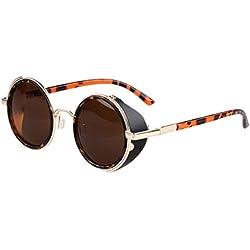 a-goo Spiegel Objektiv, runde Gläser Cyber Cosplay Brillen Steampunk Vintage Retro UV400Schutz Sonnenbrille