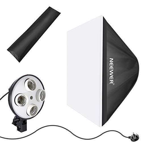 Neewer Reflektor für Fotostudio, 50 x 65 cm, mit 4 Sockel-Leuchtmittel-Adapter und externer Diffusor-Abdeckung für Video-Studioaufnahmen (UK-Stecker, Glühbirne Nicht im Lieferumfang enthalten) - Softbox-adapter