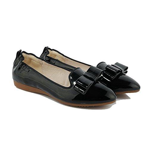 AgooLar Femme Rond à Talon Bas Verni Couleur Unie Tire Chaussures Légeres Noir