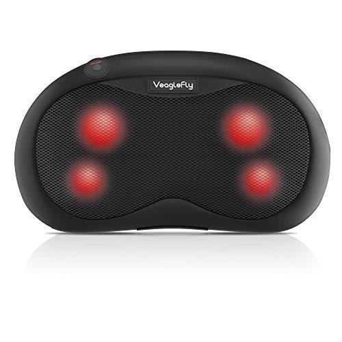 Veaglefly Shiatsu Massagekissen mit Infrarot Wärmefunktion, Nackenmassagegerät mit 3D-rotierenden Massageköpfen für die Ganzkörperentlastung zu Hause, im Auto und Büro