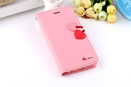 Vandot 3 in1 Zubehör Set 3D Muster Printed Cute Girl Dame Kirsche Cherry Leder Strap Hülle Flip Buch Karte Stand Case Wallet Für iPhone 4 4S Premium Magnetic Tasche Protection Protective Skin Cover He Baby PinkCherry
