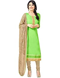 Regalia Ethnic Women's Cotton Dress Material (MFRE143_Free Size_Green)