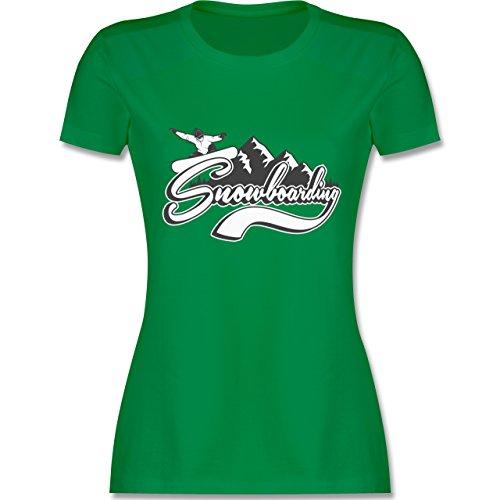 Wintersport - Snowboard Berge - tailliertes Premium T-Shirt mit  Rundhalsausschnitt für Damen Grün