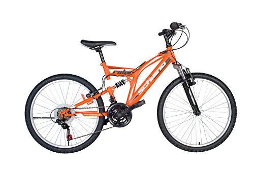 F.lli schiano rider shimano bici biammortizzata 18 velocità, arancio/bianco, 26