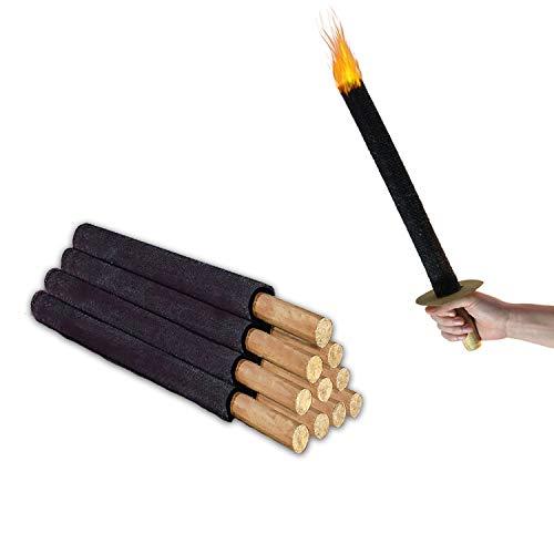 Fiaccola Torce Cera | 11 pezzi | 45 durata fiamma | Torce da esterno, bambini, infiammabili, fuoco, mano | Divertimento per giardino, campeggio, festa