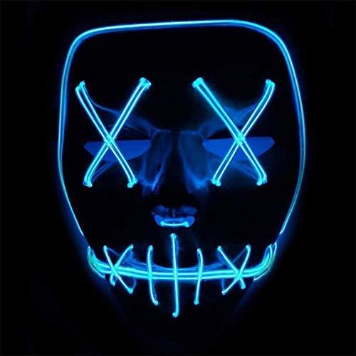 Winiron 1 Festival Party Cosplay LED Leuchten Karneval Halloween Accessoires Grimasse Maske Batterie Angetrieben(Nicht Enthalten) (Blau)