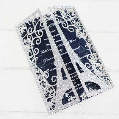 ations for Wedding Business Party Paris eiffeltower Greeting Card Customized Supply,Silver,Laser Cut Card ()