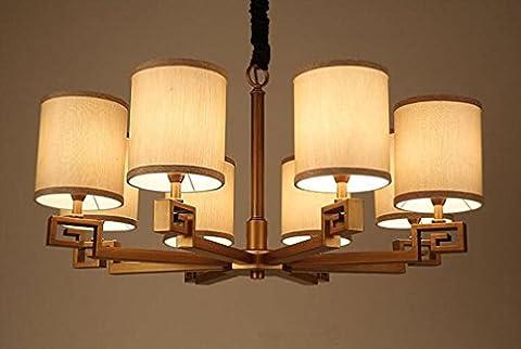 XIAOJIA Modern Minimalist Chandelier, American Antique Iron Chandeliers, Living Room Restaurant Bedroom Hotel Decoration Pendant Lamp , B