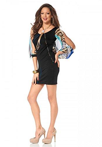 Melrose Damen-Kleid Kleid mit Chiffonärmel Mehrfarbig Größe 36