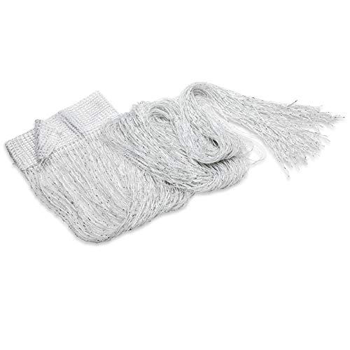 Trixes pannello tenda a striscioline bianche e argentate - effetto cascata di rugiada - tenda a fili - 90 cm x 200 cm - perfetto come schermo mosca