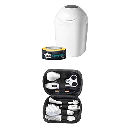 Tommee Tippee Sangenic Tec Nappy Disposal Tub with Healthcare Kit Bundle, White
