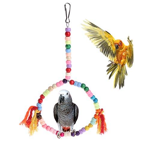 Cuigu Vogelschaukel Papagei Schaukel Spielzeug rund Sitzstange bunt Käfig hängend Kauspielzeug Stand